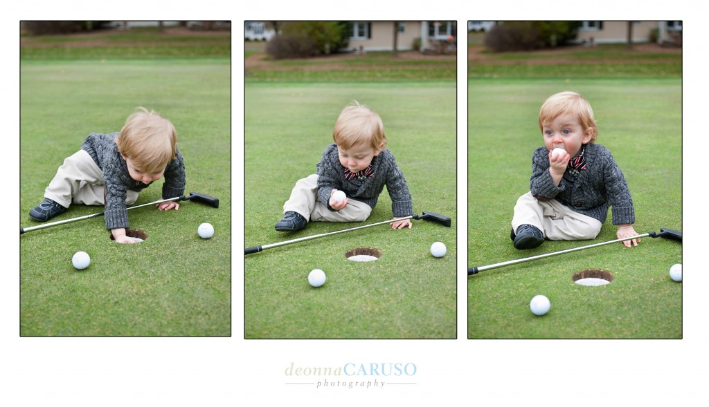 At this age anything is fair game to put into your mouth.  He was having fun with Dad on the golf course though and I think we may have a future golfer on our hands!