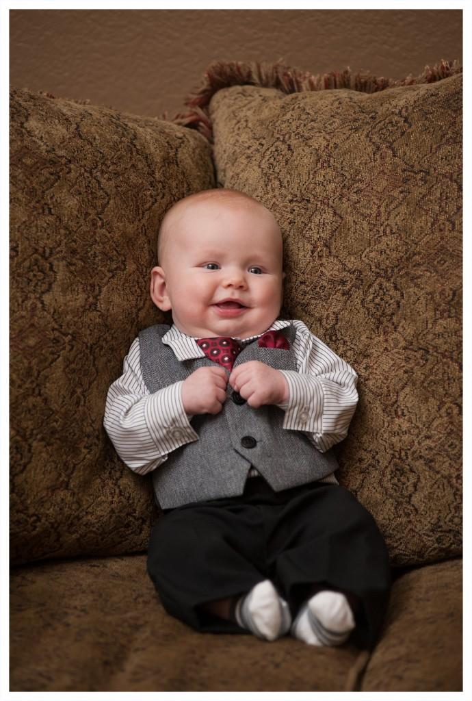 Caleb looking dapper in his new outfit for Grandma's memorial