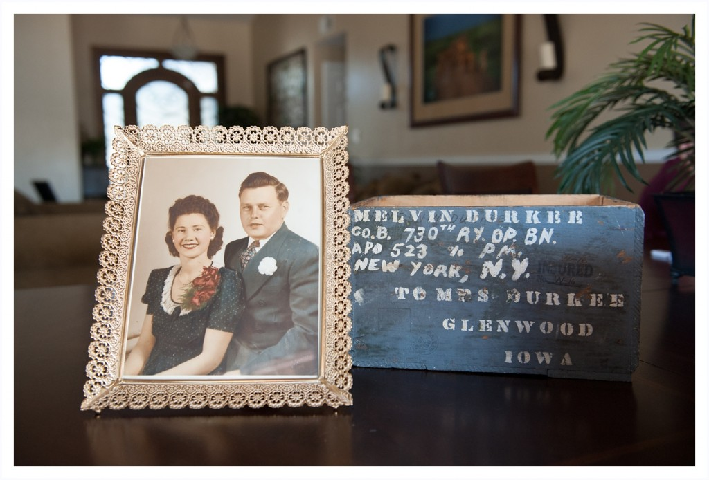 This is a picture of my grandparents next to a box that my Grandpa made to send things to my Grandma while he was away in World War 2.  Amazing!